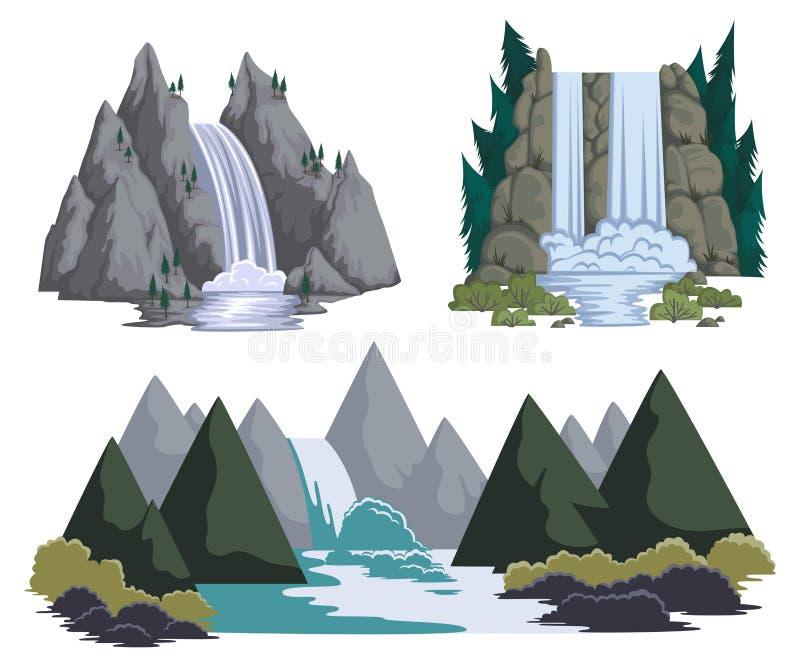 Siklawy ustawiać Kreskówka krajobrazy z górami i drzewami ilustracja wektor