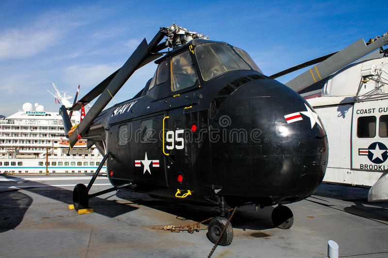 Sikorsky HRS (H-19) Chickasaw Helicopter. Vintage Sikorsky HRS (H-19) Chickasaw rescue helicopter sits on the deck of the USS Intrepid royalty free stock photography