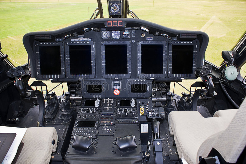 Sikorsky S-92 Electronics. The fully equipped electronic control panel on this helicopter has every facility a pilot could want for. Including: Health and Usage royalty free stock photo