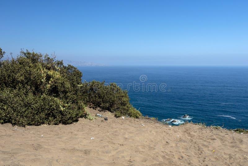 Sikt ?ver ?kenlandskapet av Concon dyn, ett stort omr?de av sanddyn n?ra Vina del Mar, Chile, Sydamerika arkivbilder