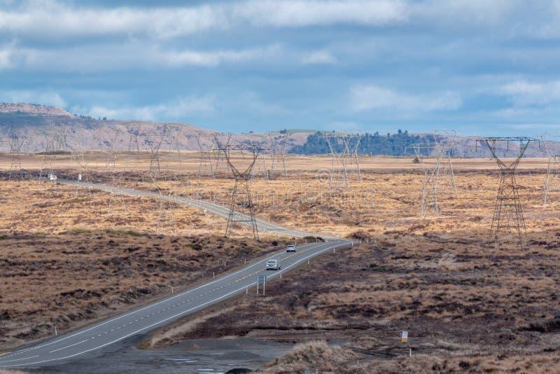Sikt över ökenvägen i den norr ön, Nya Zeeland royaltyfri fotografi