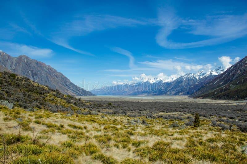 Sikt över Aoraki/monteringskock National Park, södra ö av Nya Zeeland fotografering för bildbyråer