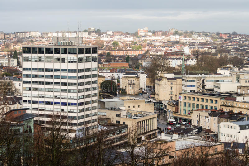 Sikt över Bristol With Clifton Heights royaltyfri fotografi