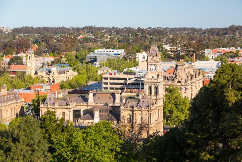 Sikt över det Bendigo stadshuset royaltyfria foton