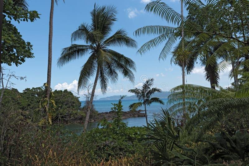 Sikt över Drake Bay i Costa Rica arkivbilder
