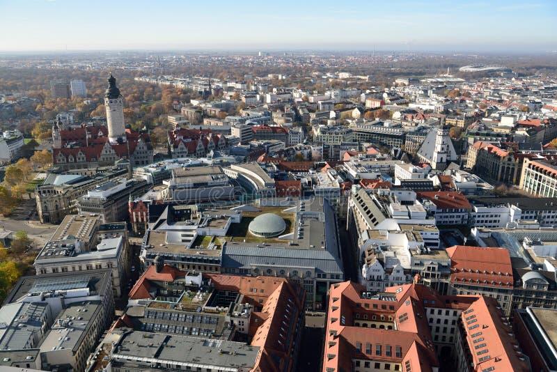 Sikt över Leipzig, Tyskland arkivfoto