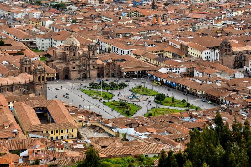 Sikt över Plaza de Armas i Cusco, Peru arkivbild