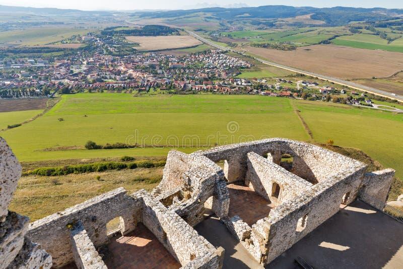 Sikt över Spisske Podhradie från den Spis slotten i Slovakien royaltyfria foton