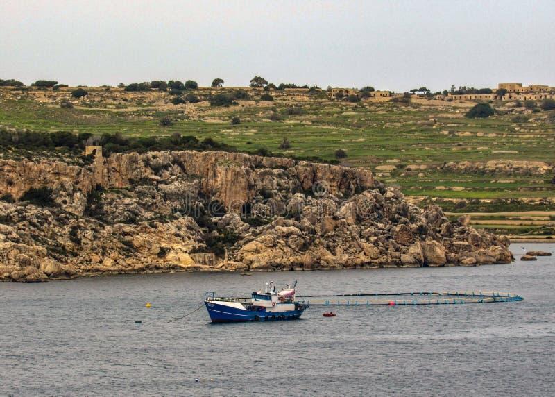 Sikt över St Pauls Bay med yacht- och fisklantgården, Bugibba, på den medelhavs- ön av Malta, Europa royaltyfri bild