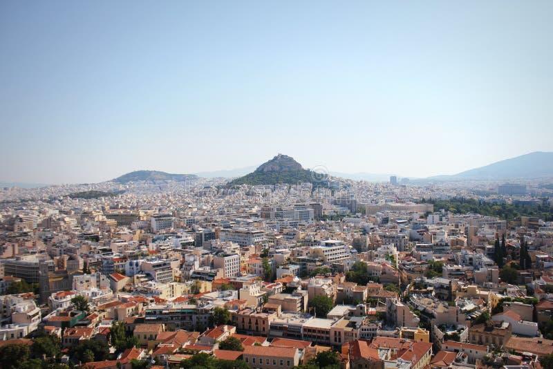 Sikt över staden och den Lycabettus kullen från akropolen i Aten, Grekland athens panorama härlig cityscape arkivbild