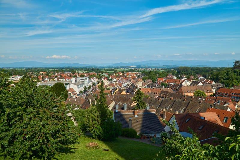 Sikt över taken av Breisach royaltyfri fotografi