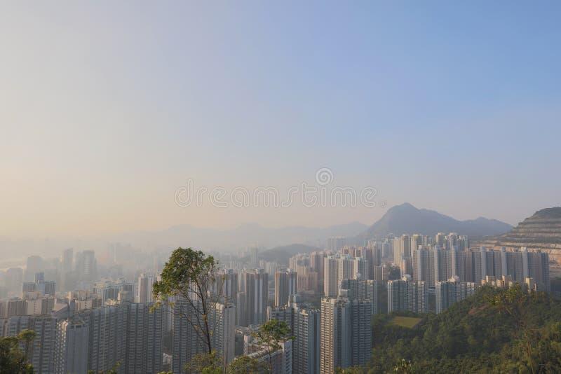 sikt av östliga kowloon på den svarta kullen royaltyfria bilder