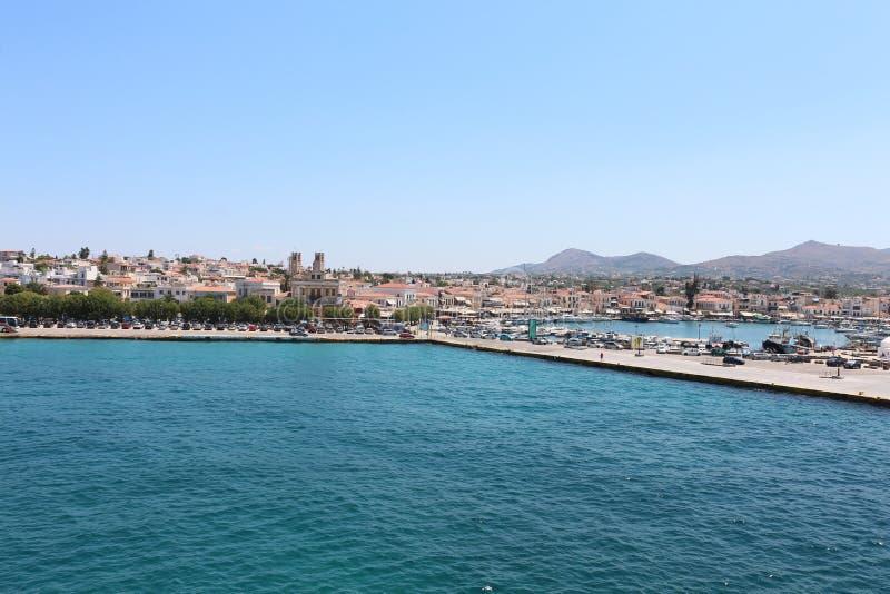 Sikt av Aeginas sjösida arkivfoton