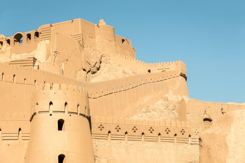 Sikt av Arg-e Bam - Bam Citadel som byggs om efter jordskalv, Iran royaltyfri fotografi