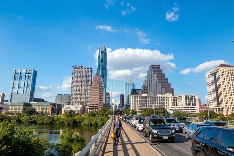 Sikt av Austin, i stadens centrum horisont royaltyfri bild