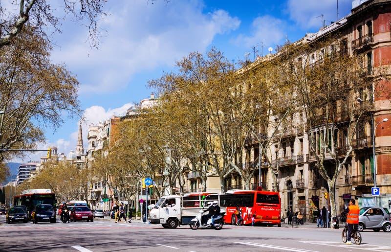 Sikt av Barcelona, Spanien. Passeig de Sant Joan royaltyfri fotografi