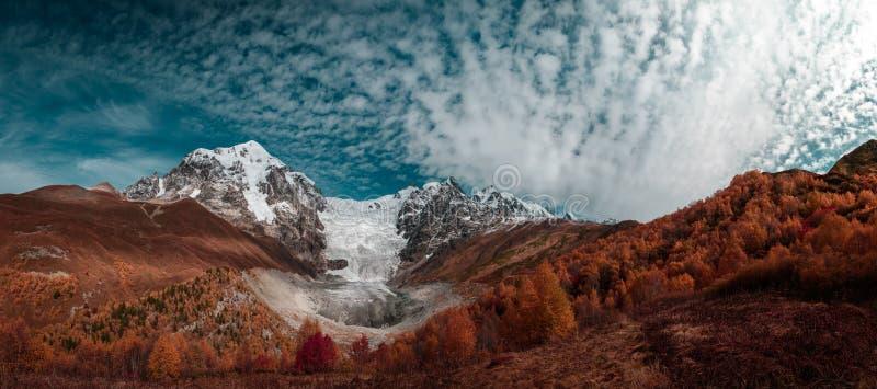 Sikt av bergen och glaciären på bakgrunden av blå himmel med vitmoln och skogen i förgrunden royaltyfria bilder