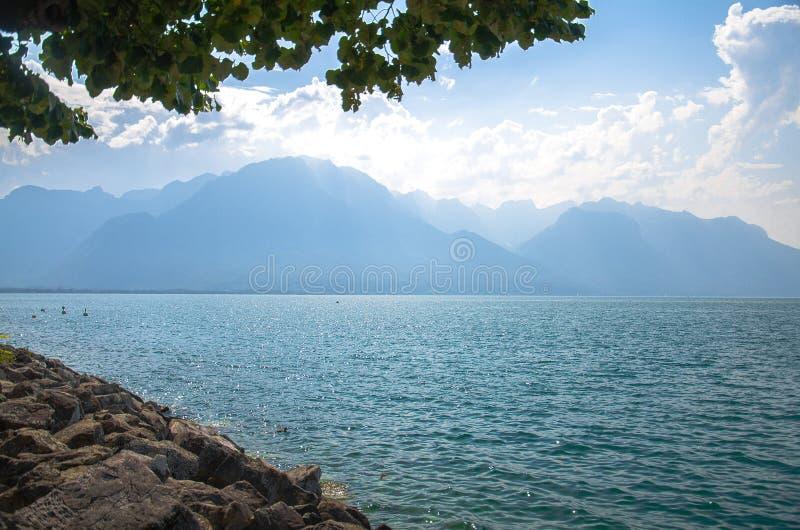 Sikt av bergfjällängar och sjön Leman i Montreux, Schweiz royaltyfri foto