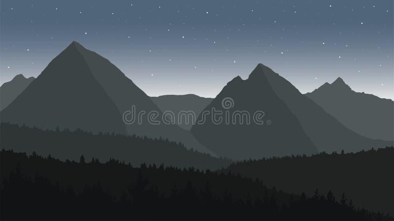 Sikt av berglandskapet under natthimlen stock illustrationer