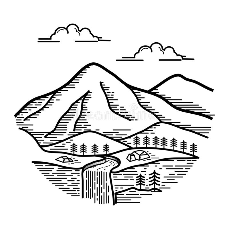 Sikt av berglinjen konstdesign vektor illustrationer