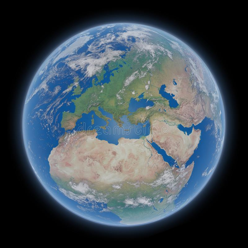 Sikt av blå planetjord i tolkningbeståndsdelar för utrymme 3D av denna royaltyfri illustrationer