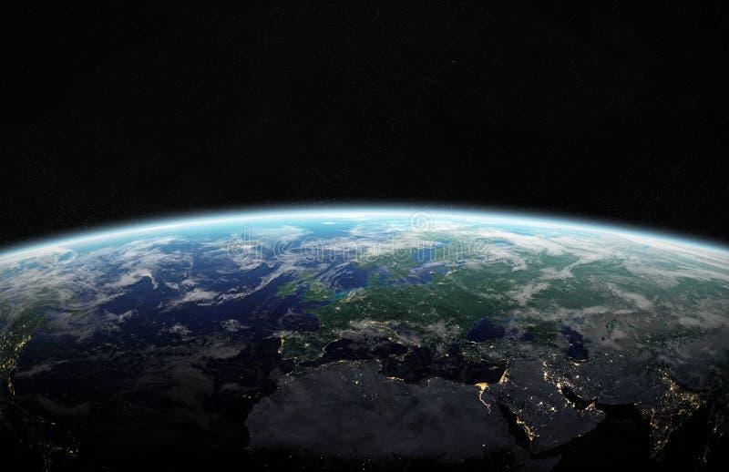 Sikt av blå planetjord i tolkningbeståndsdelar för utrymme 3D av denna vektor illustrationer