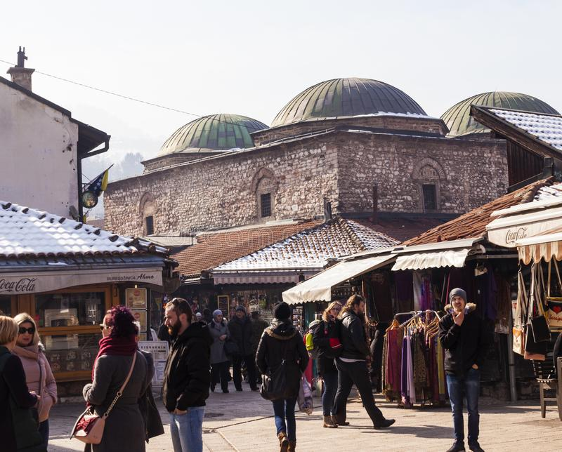 Sikt av Brusa det bezistan museet, Sarajevo arkivbilder