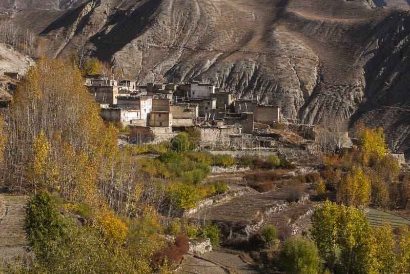 Sikt av byn Jhong arkivbilder