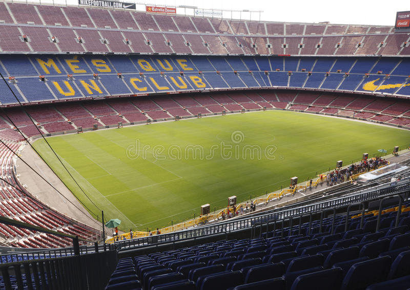Sikt av Camp Nou stadion royaltyfri fotografi