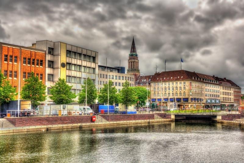 Sikt av centret av Kiel arkivbild