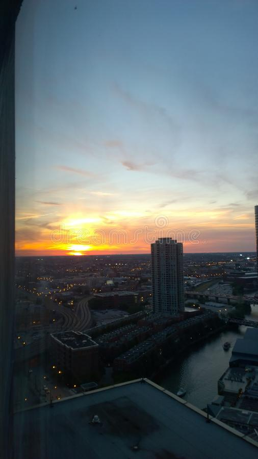 Sikt av Chicago horisont arkivfoton