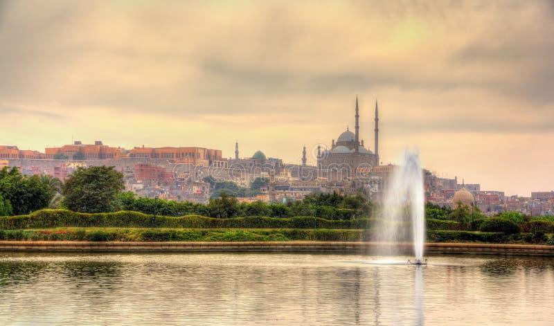 Sikt av citadellen med Muhammad Ali Mosque från Al-Azhar Park arkivfoton