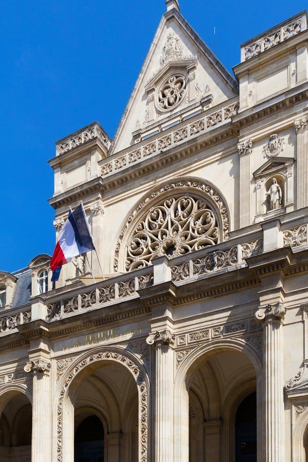 Sikt av den Сity korridorbyggnaden av den 1st arrondissementen av Paris, Frankrike royaltyfri bild