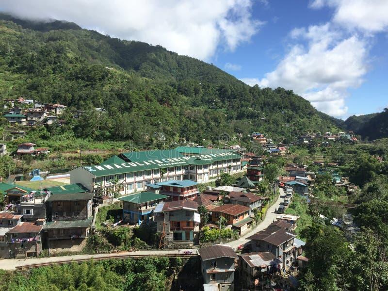 Sikt av den Banaue byn i Ifugao, Filippinerna arkivbild
