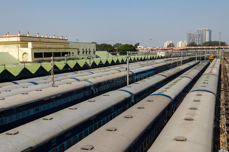Sikt av den Bangalore stadsjärnvägsstationen arkivbild