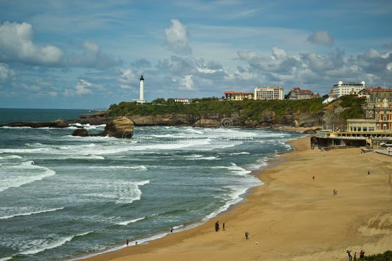 Sikt av den Biarritz staden, Frankrike royaltyfri fotografi