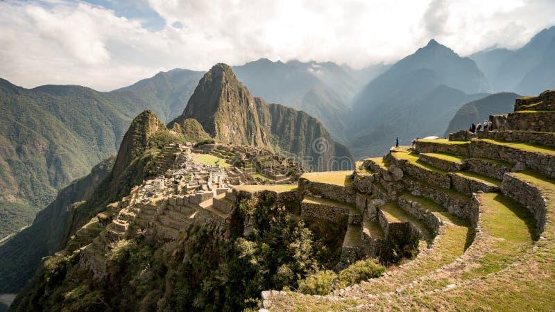 Sikt av den borttappade Incan staden av Machu Picchu nära Cusco, Peru fotografering för bildbyråer