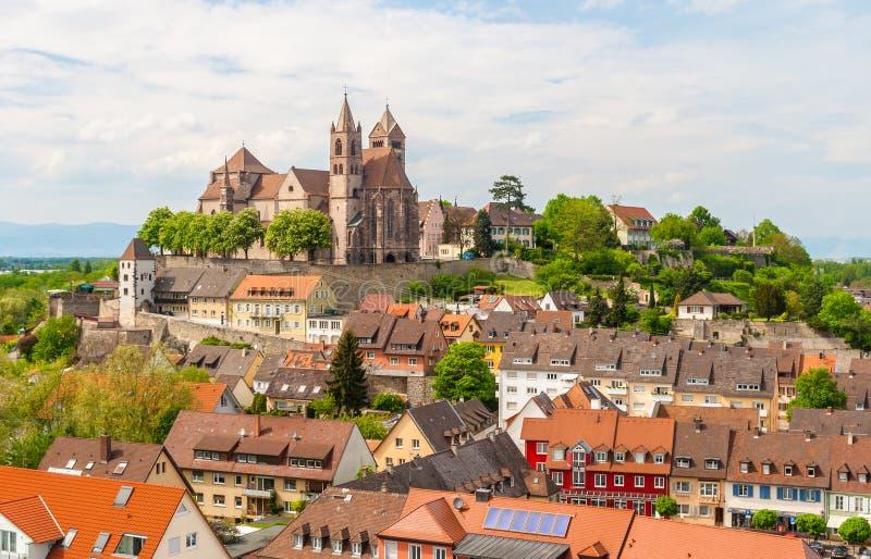 Sikt av den Breisach staden - Baden-Wurttemberg, Tyskland arkivbild