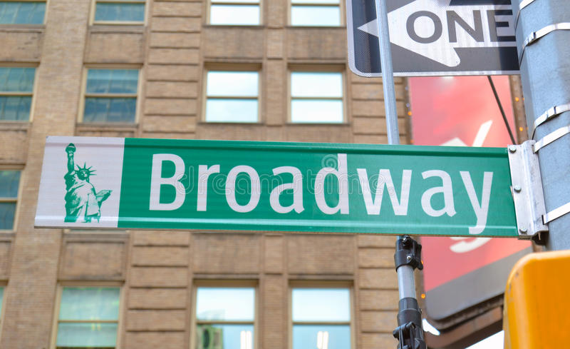 Sikt av den Broadway gatan royaltyfria foton