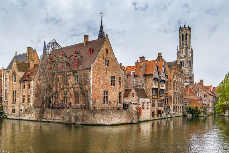 Sikt av den Bruges kanalen, Belgien arkivfoton