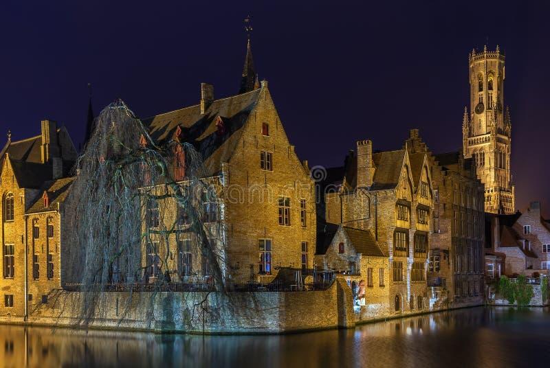 Sikt av den Bruges kanalen, Belgien fotografering för bildbyråer