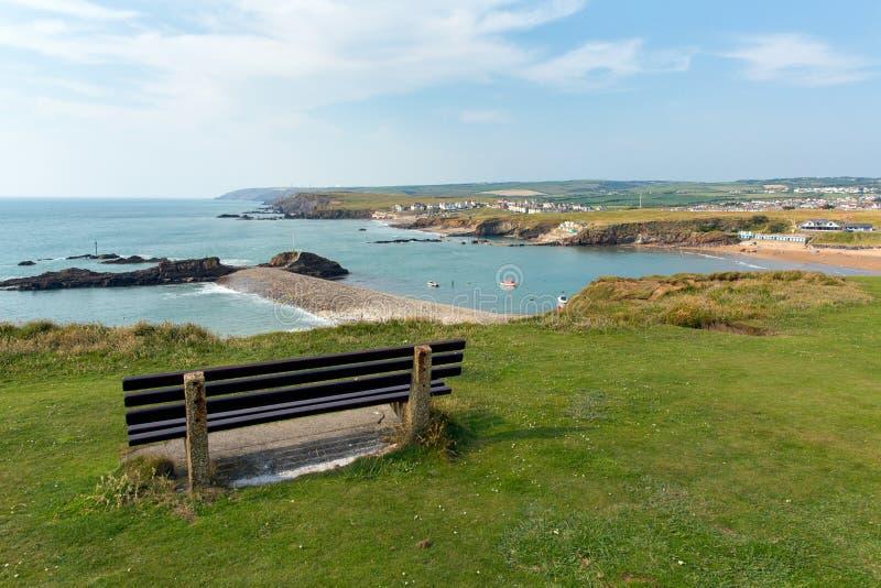 Sikt av den Bude kusten norr Cornwall arkivfoton