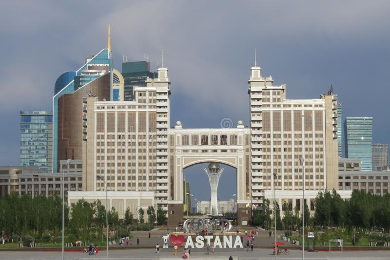 Sikt av den centrala delen av huvudstaden Kazastan Gamla Astana, nu Nursultan arkivfoto