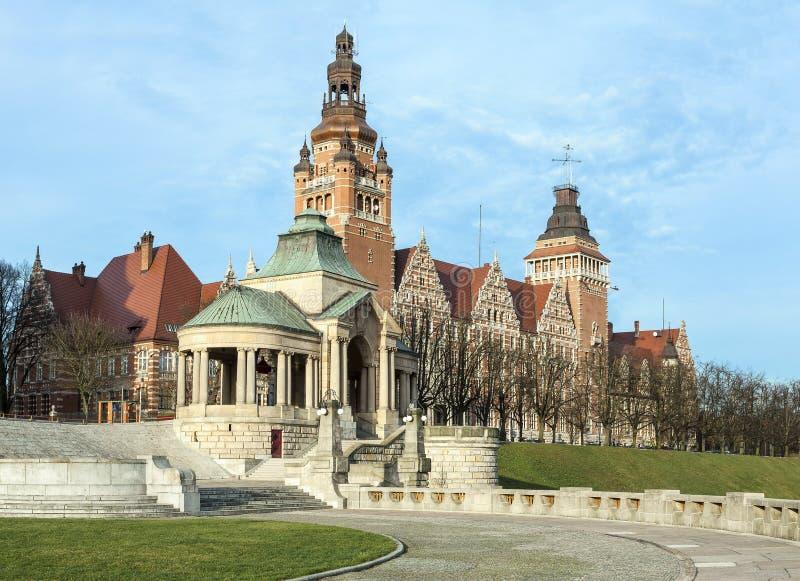 Sikt av den Chrobry invallningen i Szczecin royaltyfri bild
