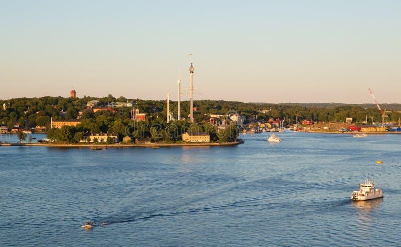Sikt av den Djurgarden ön i Stockholm arkivfoton