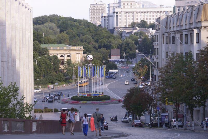 Sikt av den europeiska fyrkanten, Kiev, Ukraina royaltyfri foto