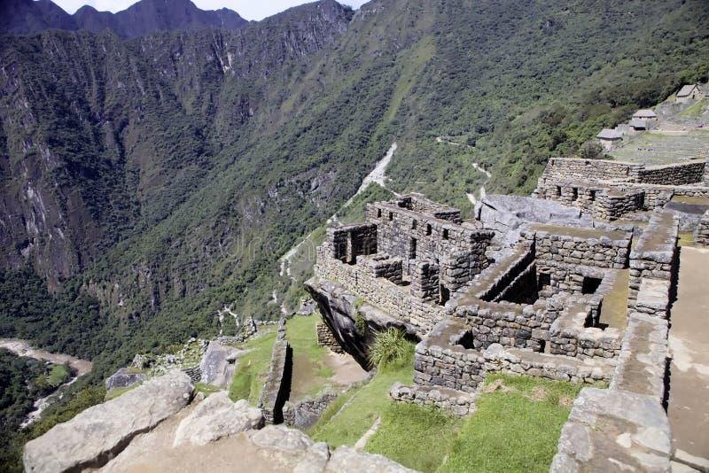 Sikt av den forntida Inca City av Machu Picchu, Peru arkivbild