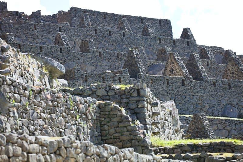 Sikt av den forntida Inca City av Machu Picchu, Peru fotografering för bildbyråer