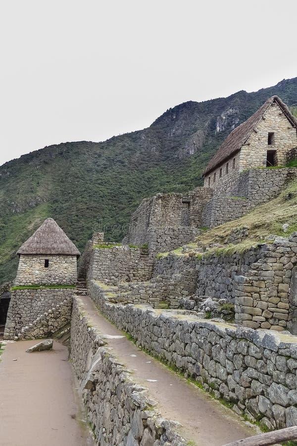 Sikt av den forntida Inca City av Machu Picchu royaltyfria foton