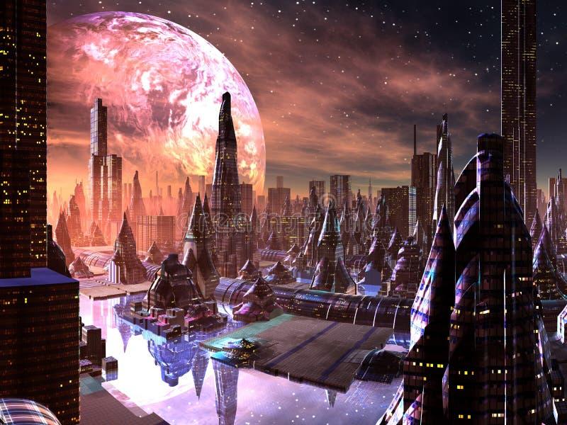 Sikt av den Futuristic staden på det främmande planet royaltyfri illustrationer